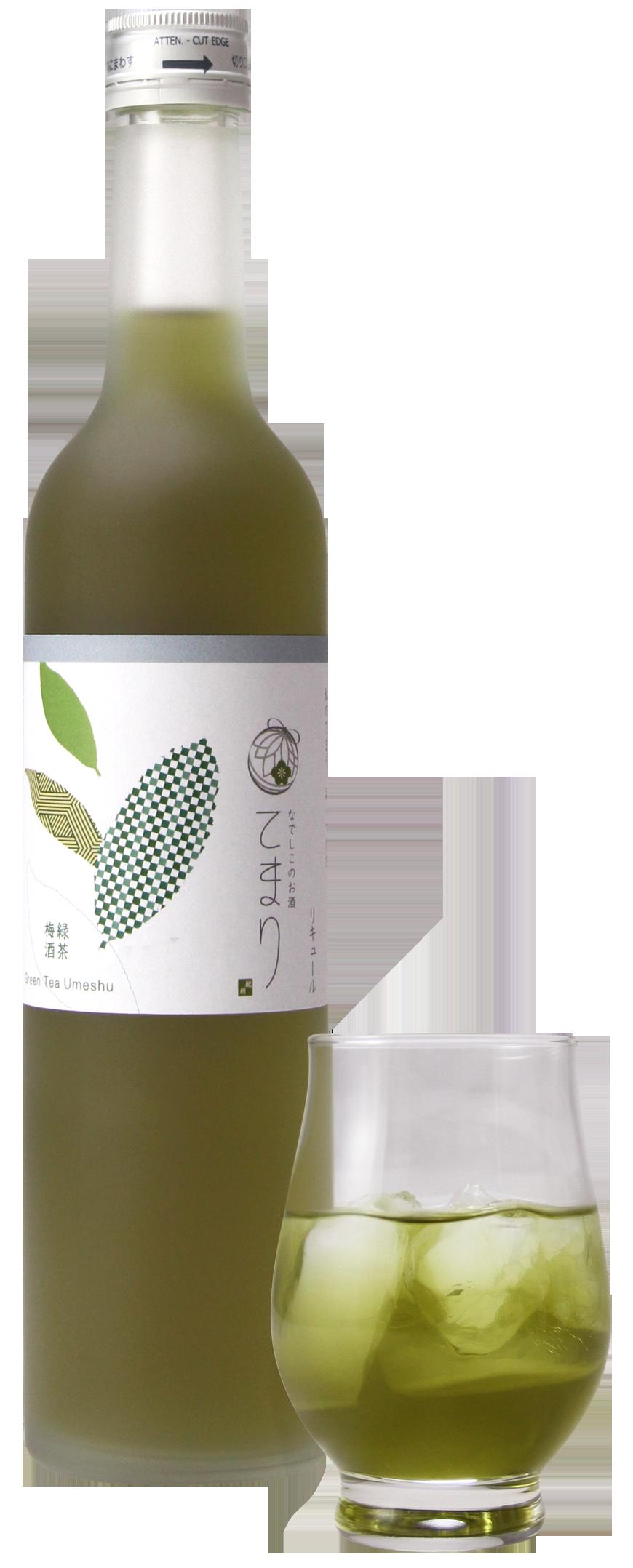 なでしこのお酒「てまり」緑茶梅酒500&グラス_PNG00